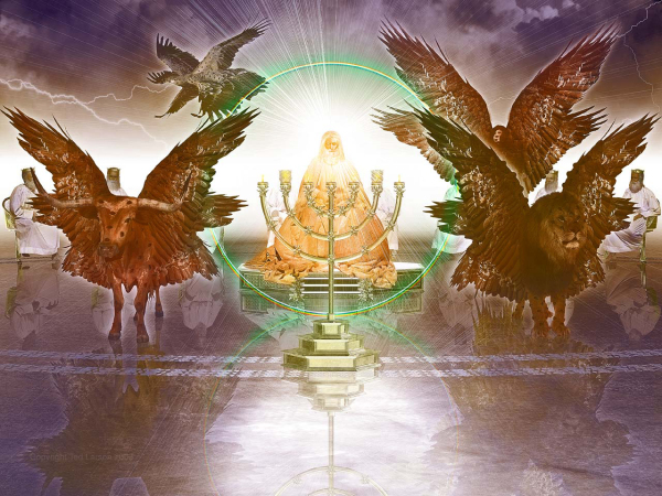 Apostle, John, vision, Reveleation, Heaven, winged creatures, rainbow throne, elders, worship